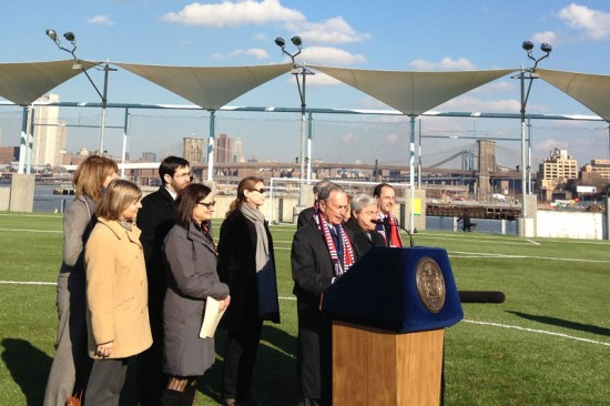 Mayor Bloomberg at the opening of Pier 5 at Brooklyn Bridge Park. (Nicole Anderson / AN)