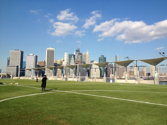 The new recreation fields at Pier 5 in Brooklyn Bridge Park. (Nicole Anderson / AN)