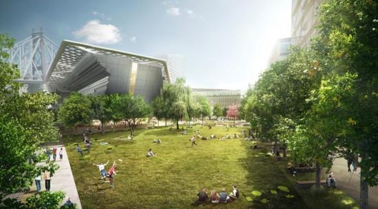 Morphosis' Design of the Cornell NYC Tech Esplanade (Courtesy Kilograph)