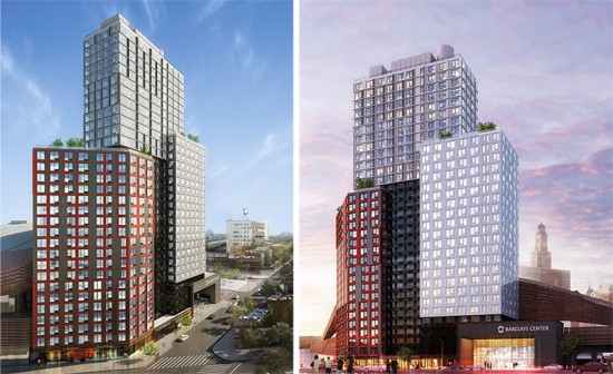 The B2 Tower sits next to Barclays Center at Atlantic Yards. (Courtesy SHoP)