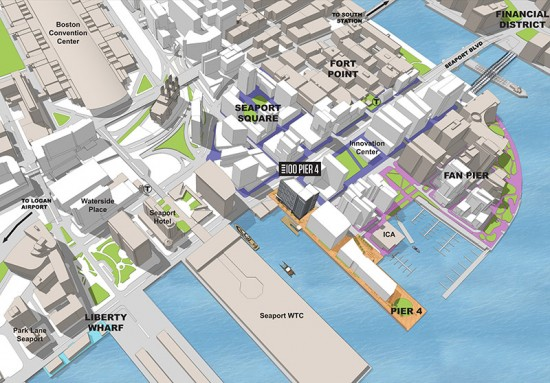 Aerial shot of 100 Pier 4 (Courtesy of ADD Inc)