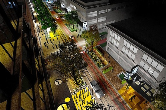 Aerial view of Main Street's Creative Corridor (Courtesy Marlon Blackwell Architect & Steve Luoni)