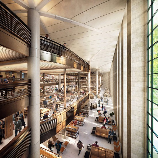 Rendering of Foster + Partners' proposed renovation of the New York Public Library. (Courtesy Foster+Partners / dbox)