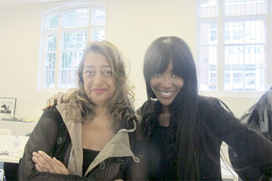 Zaha Hadid and Naomi Campbell. (Courtesy Interview Magazine)