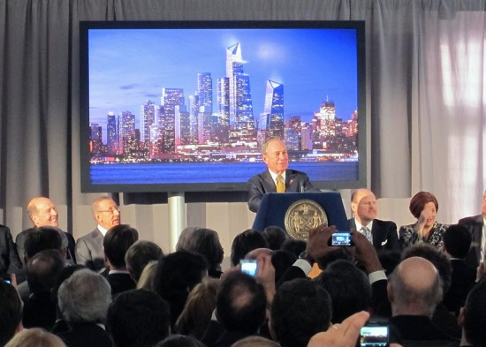 Mayor Bloomberg speaks at the Hudson Yards groundbreaking. (Branden Klayko / AN)