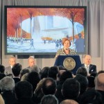 New York City Councilwoman Christine Quinn speaks at the Hudson Yards groundbreaking. (Branden Klayko / AN)