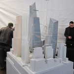A model of Hudson Yards at the groundbreaking. (Branden Klayko / AN)