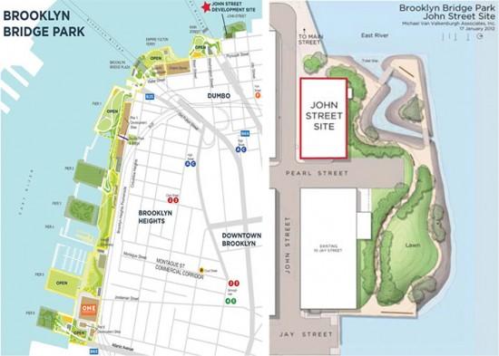 The John Street development site. (Courtesy Brooklyn Bridge Park)