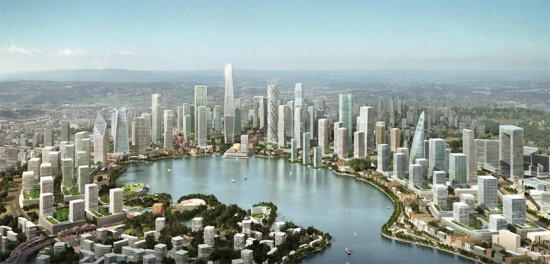 Plan for Meixi Lake in China's Hunan Province. (Courtesy KPF)