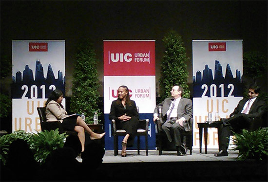 "WBEZ's Niala Boodhoo, IL Deputy Governor Cristal Thomas, Chicago Deputy Mayor Steve Koch and Deputy Chief of Staff to the Cook County Board President Neil Khare during the panel, ""Chicago Metropolitan Resilience."" (Courtesy UIC Urban Forum)"