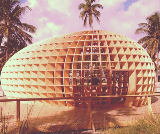 Absolut Art Bureau's egg-shaped Guiro pavilion. (Karen Bookatz)