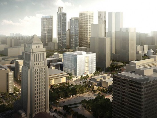 The courthouse will take the form of a faceted white cube. (Courtesy Office of Congresswoman Lucille Roybal-Allard)