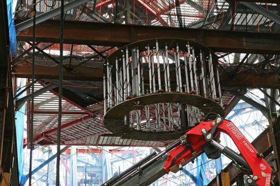 Antenna base at One World Trade in September. (Tom Stoelker / AN)