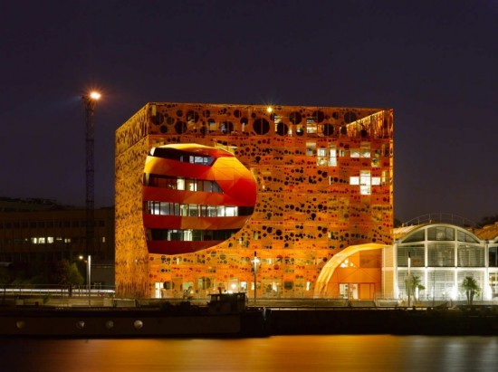 The Orange Cube by Jakob Macfarlane. (Via Arch Daily)