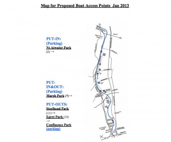 Map of proposed river access points (LA Department of Recreation and Parks)