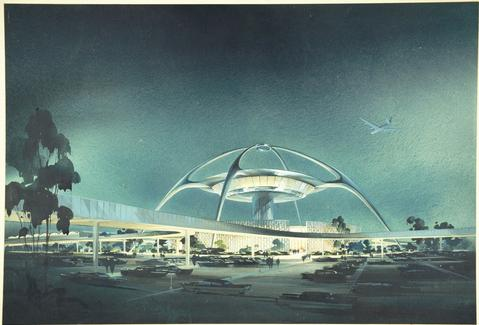 LAX Theme Building, 1961 (The Luckman Partnership) from the Getty's upcoming show <em>Overdrive</em>.
