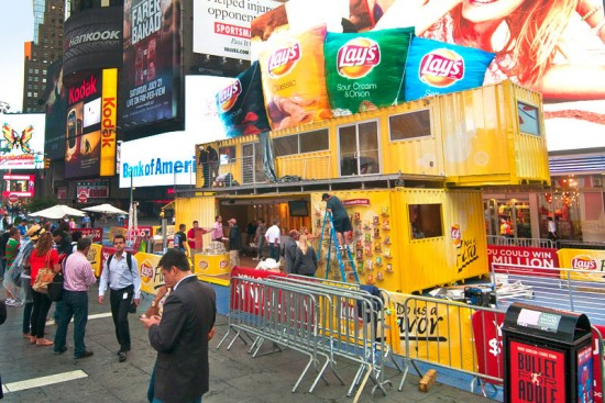 A double-decker pop-up for Lay's potato chips in Times Square in 2012. (Courtesy Boxman Studios)