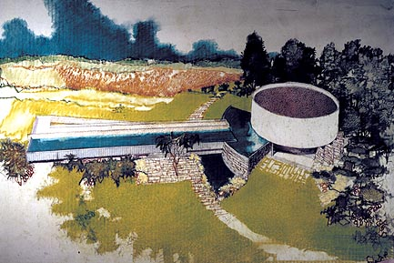 Painting of Richard Neutra's Gettysburg cyclorama building (Courtesy of Neutra.org)