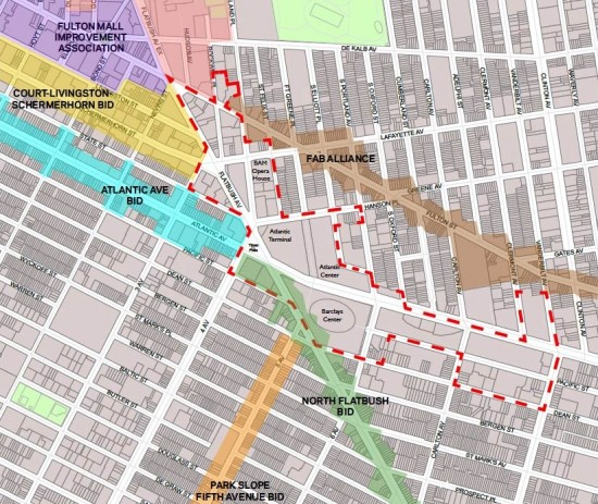 Preliminary boundaries of the proposed BID indicated in red dashes. (Courtesy Downtown Brooklyn Partnership)