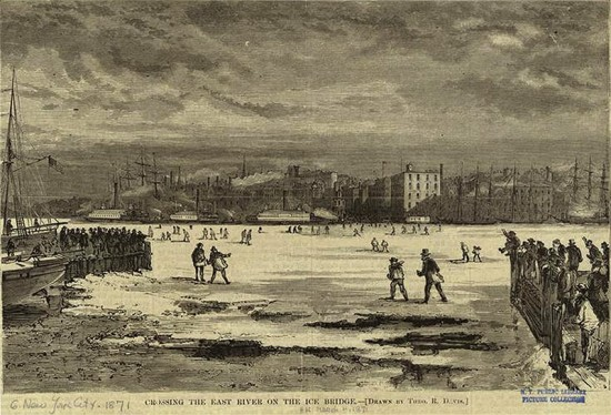 """""""Crossing the East River on the Ice Bridge,"""" 1871. (Courtesy New York Public Library)"""
