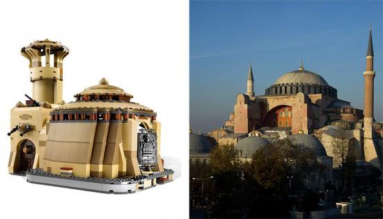 "Lego's ""Jabba's Palace"" and the Hagia Sofia in Istanbul. (Courtesy Lego / Jo Christian Oterhals/Flickr)"