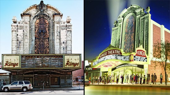 Current conditions and proposed changes to Loew's Kings Theater. (Steve Minor/Flickr and Courtesy NYC Mayor's Office)