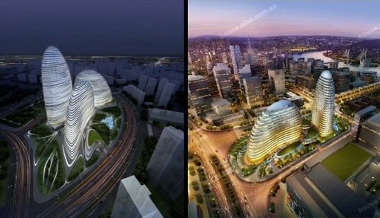 Zaha Hadid's Wangjing Soho project (left) and the Meiquan22nd Century project (right). (Courtesy Zaha Hadid Architects / Sina)