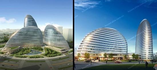 Zaha Hadid's Wangjing Soho project (left) and the Meiquan22nd Century project (right). (Courtesy Zaha Hadid Architects / Sina)