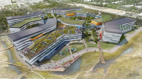 Rendering of Google's planned Bay View campus, by NBBJ. (Courtesy NBBJ)