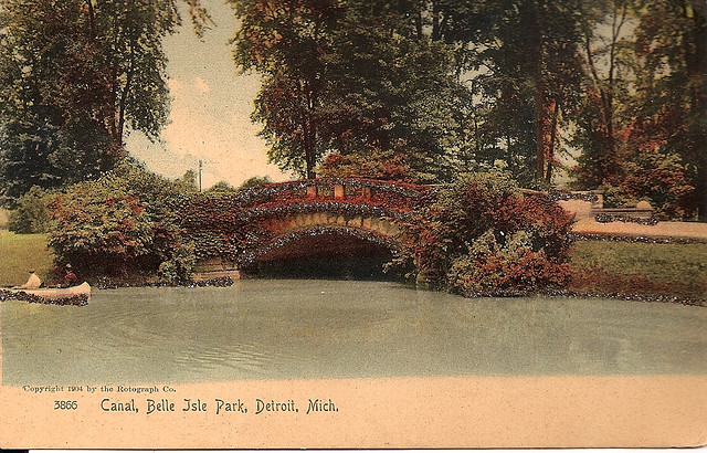 a vintage postcard depicting Detroit's belle isle (courtesy catherine of chicago via flickr)