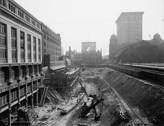 Excavation work at Grand Central. (Courtesy Library of Congress)