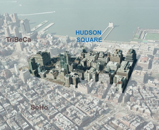 Aerial view of Hudson Square. (Courtesy Hudson Square BID)