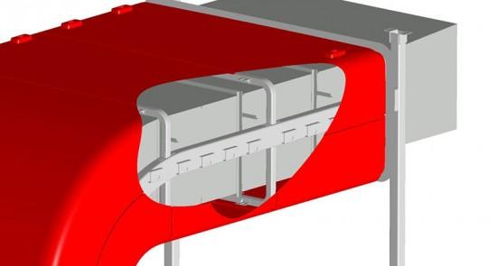 CATIA model of the cladding system integrated with the ductwork. (Courtesy CTC)