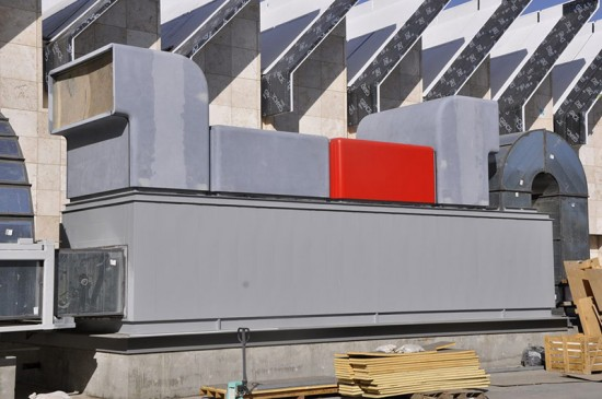 The cladding in the process of being painted. (Courtesy CTC)