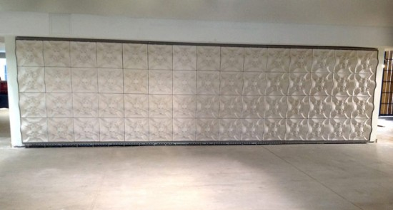 The wall, post installation, but pre-finishing details. (Courtesy Topocast)