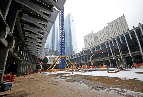 View of construction inside the transit hub. (Courtesy Port Authority of NY & NJ)
