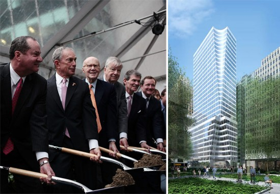 Mayor Bloomberg participates in the groundbreaking, left, and a rendering of the new building, right. (Edward Reed; Courtesy Pei Cobb Freed)