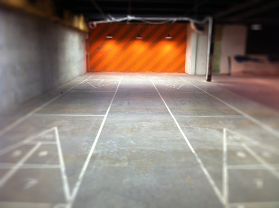The bank's basement contained community recreation facility's like shuffleboard. (Sam Lubell)