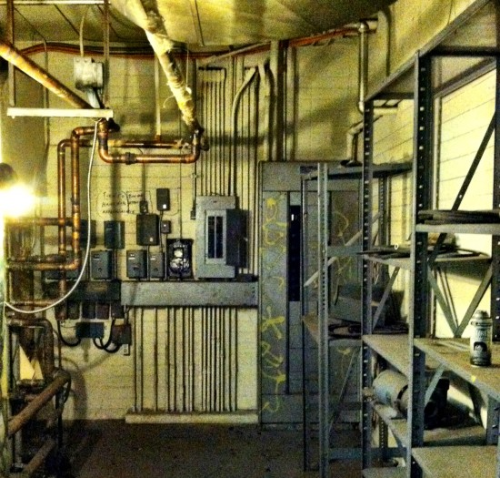 Inside one of the basement mechanical rooms. (Sam Lubell)