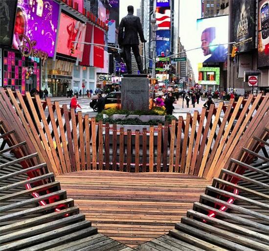 Situ Studio's Heartwalk installation in Times Square. (Courtesy Times Square Alliance)