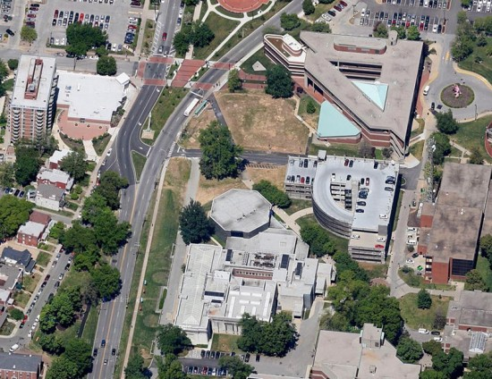 Aerial view of the Speed Art Museum. (Courtesy Google)