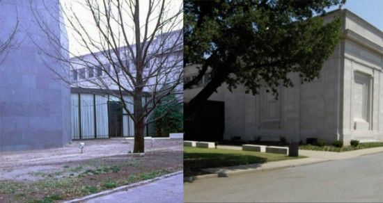 The Oak tree in 1974, left, and a more recent view, right. (Speed Art Museum / Via WFPL)