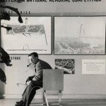 Eero Saarinen in front of his winning proposal for the Gateway Arch. (Courtesy Yale University Archives / Eero Saarinen Collection)