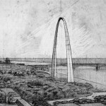 Sketch of the Gateway Arch from the 1940s. (Courtesy Yale University Archives / Eero Saarinen Collection)
