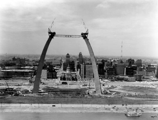 St. Louis' Gateway Arch under construction. (Courtesy Missouri State Archives)