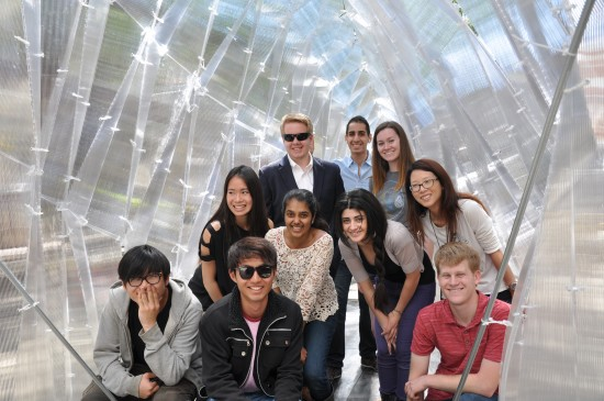 Students pose inside their creation. (Roland Wahlroos-Ritter)