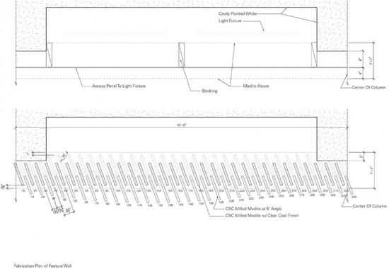 The architects presented their concept for the fin wall as a two dimensional drawing. (courtesy Brininstool + Lynch)