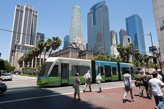 Rendering of the proposed Downtown LA Streetcar. (Courtesy Los Angeles Streetcar Inc.)