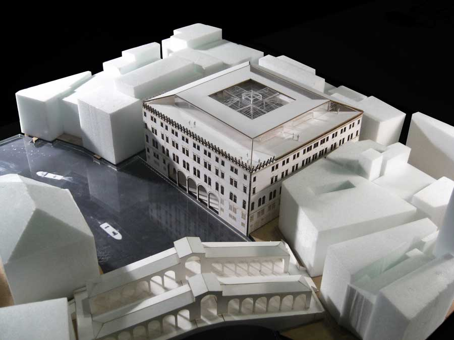 The previous design featured a rooftop deck that would have required demolishing a portion of the palazzo's historic tile roof. The updated design features a deck propped above the historic roof. (Courtesy OMA)