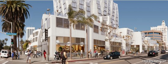 The site would contain active retail at street level. (Gehry Partners)